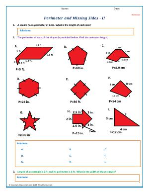 Preview image for worksheet with title Perimeter and Missing Sides - II