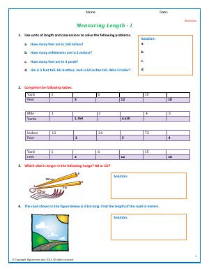Preview image for worksheet with title Measuring Length - I