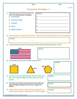 Preview image for worksheet with title Perimeter Formulas - I