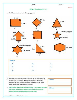 Preview image for worksheet with title Find Perimeter - I