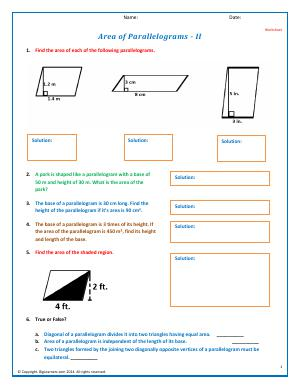 Preview image for worksheet with title Area of Parallelograms - II
