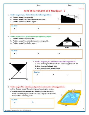 Preview image for worksheet with title Area of Rectangles and Triangles - II