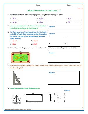 Preview image for worksheet with title Relate Perimeter and Area - I