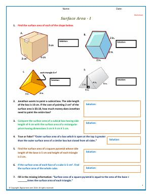 Preview image for worksheet with title Surface Area - I