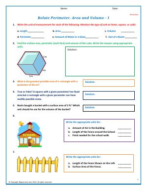 Preview image for worksheet with title Relate Perimeter. Area and Volume - I