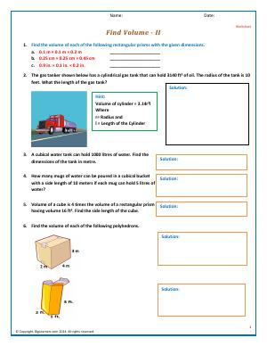 Preview image for worksheet with title Find Volume - 2