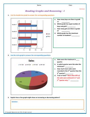 Preview image for worksheet with title Reading Graphs and Reasoning - I