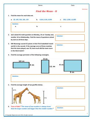 Preview image for worksheet with title Find the Mean - II