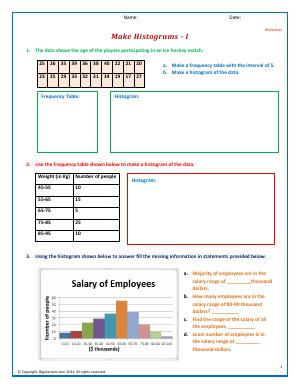 Preview image for worksheet with title Make Histograms - I