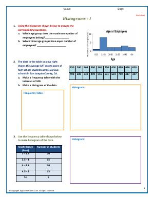 Preview image for worksheet with title Make Histograms - 2