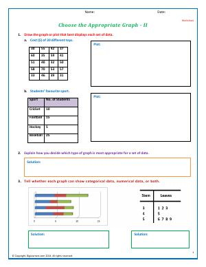 Preview image for worksheet with title Choose the Appropriate Graph - II