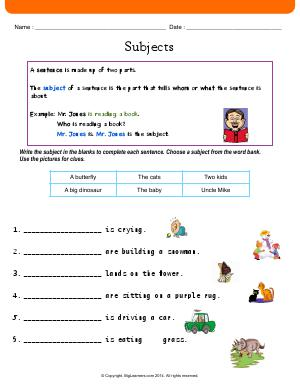 Preview image for worksheet with title Subjects