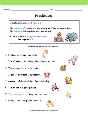 Preview image for worksheet with title Predicates