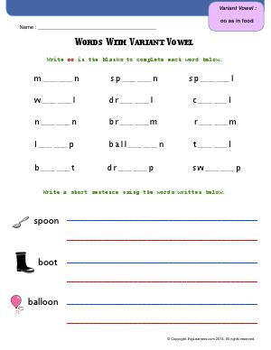 Preview image for worksheet with title Words With Variant Vowel