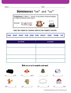 "Preview image for worksheet with title Diphthongs ""ow"" and ""ou"""