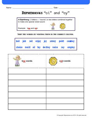 "Preview image for worksheet with title Diphthongs ""oi"" and ""oy"""