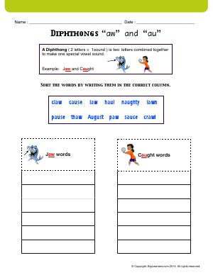 "Preview image for worksheet with title Diphthongs ""aw"" and ""au"""