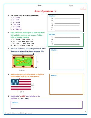 Preview image for worksheet with title Solve Equations - I