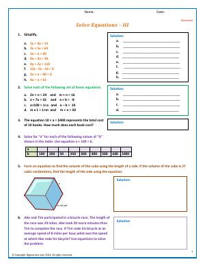 Preview image for worksheet with title Solve Equations - III