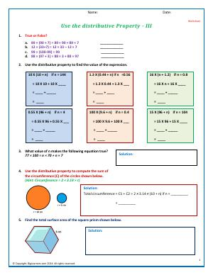 Preview image for worksheet with title Use the distributive Property - II