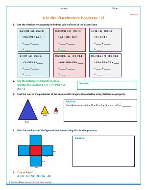 Preview image for worksheet with title Use the distributive Property - III
