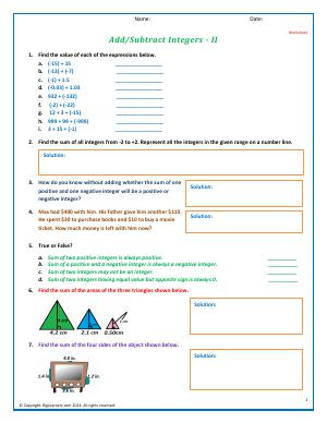 Preview image for worksheet with title Add/Subtract Integers - II