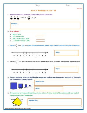 Preview image for worksheet with title Use a Number Line - II