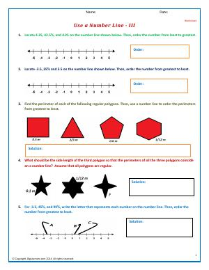 Preview image for worksheet with title Use a Number Line - III