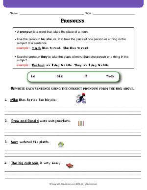 Preview image for worksheet with title Pronouns