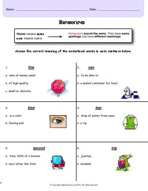 Preview image for worksheet with title Homonyms