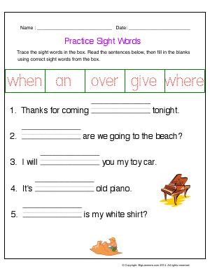 Preview image for worksheet with title Practice Sight Words (when, an, over, give, where)