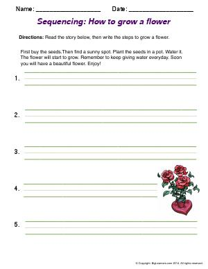 Preview image for worksheet with title Sequencing: How to Grow a Flower