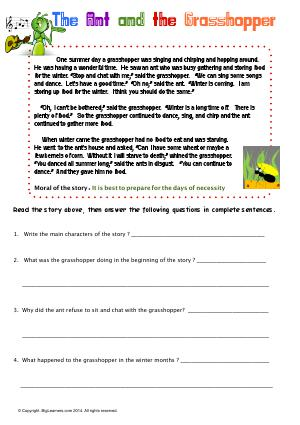 Preview image for worksheet with title The Ant and the Grasshopper
