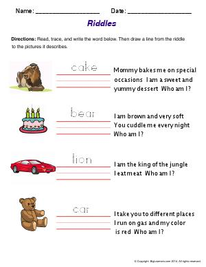 Preview image for worksheet with title Riddles