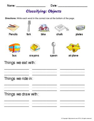 Preview image for worksheet with title Classifying: Objects