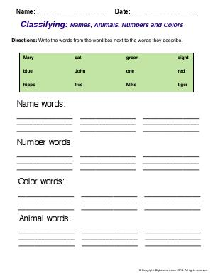 Preview image for worksheet with title Classifying: Names, Animals, Numbers, and Colors