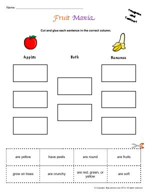 Preview image for worksheet with title Fruit Mania