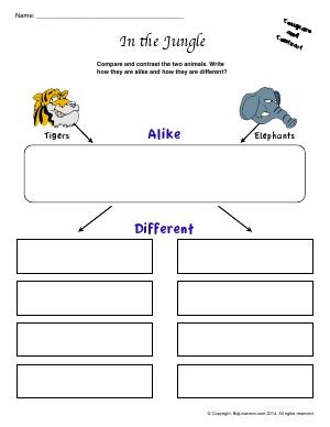 Preview image for worksheet with title In the Jungle