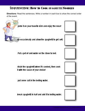 Preview image for worksheet with title Sequencing: How to Cook Spaghetti Noodles