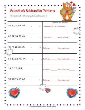 Preview image for worksheet with title Valentine's Subtraction Patterns