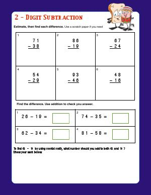 Preview image for worksheet with title 2- Digit Subtraction