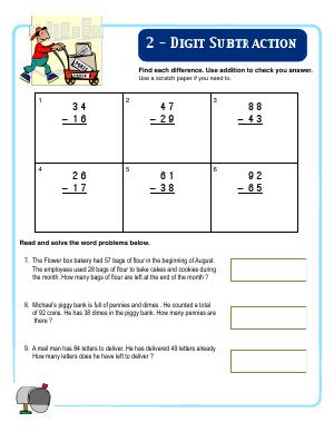 Preview image for worksheet with title 2 - Digit Subtraction
