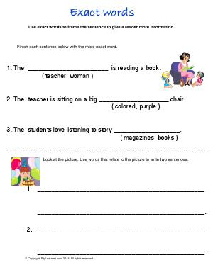 Preview image for worksheet with title Exact Words