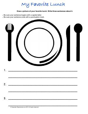 Preview image for worksheet with title My Favorite Lunch