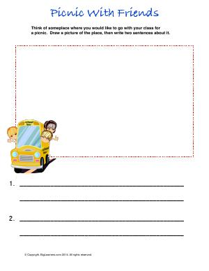 Preview image for worksheet with title Picnic With Friends