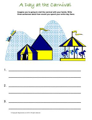 Preview image for worksheet with title A Day at the Carnival