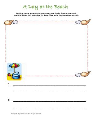 Preview image for worksheet with title A Day at the Beach