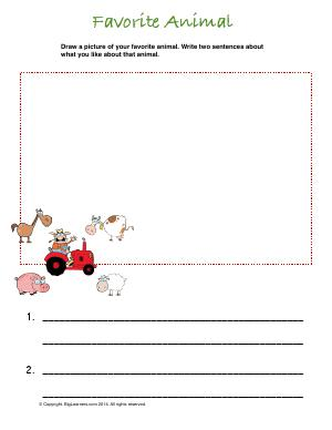 Preview image for worksheet with title Favorite Animal