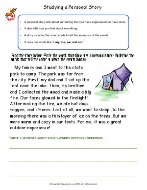 Preview image for worksheet with title Studying a Personal Story