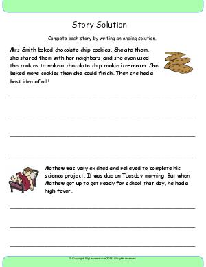 Preview image for worksheet with title Story Solution